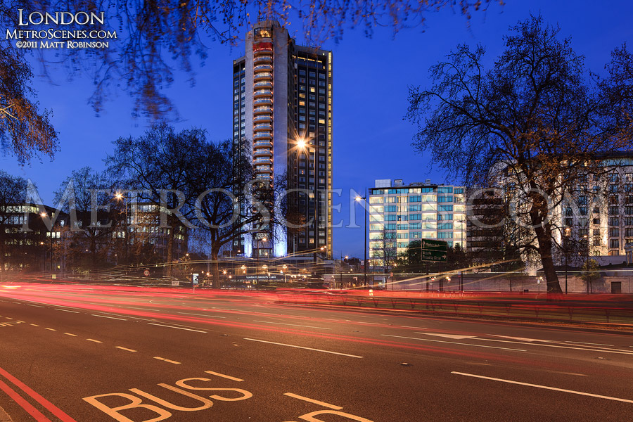London Hilton on Park Lane at magic hour