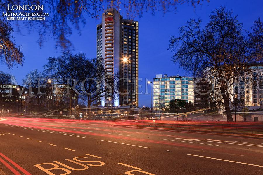 London Hilton on Park Lane at magic hour