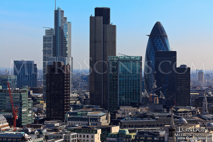 Aerial of The City skyline in London