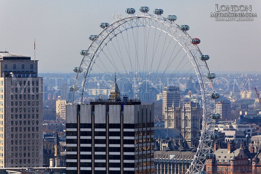 The London Eye as seen from the dome of St. Paul's Cathedral