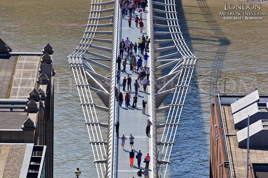 Aerial view of Millennium Bridge , London