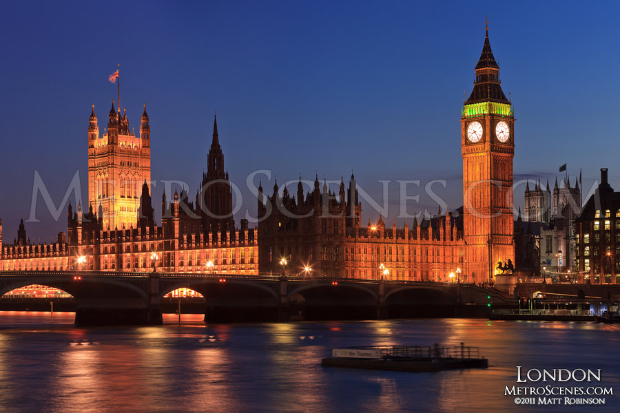 Palace of Westminster at night over the River Thames