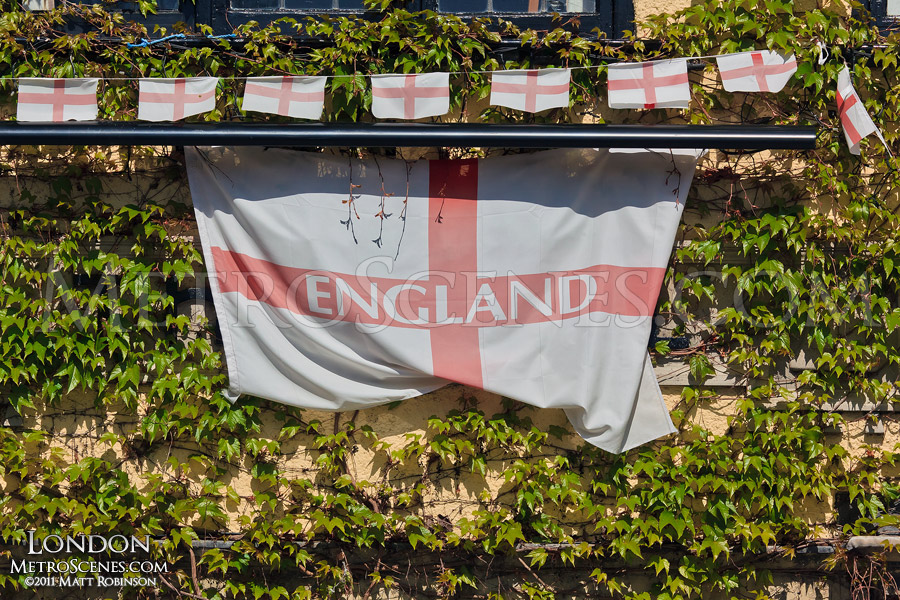 Flag of England and ivy