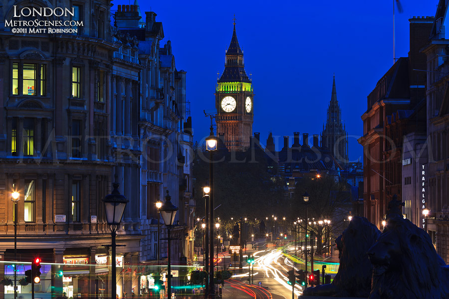 Big Ben seen looking down Whitehall from Trafalgar Square at night