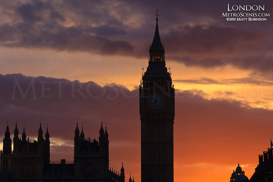 Sunset and Big Ben Silhouette
