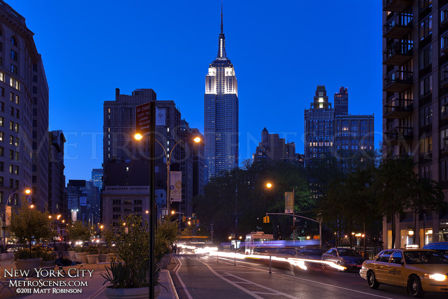 Empire State Building at dusk from street level