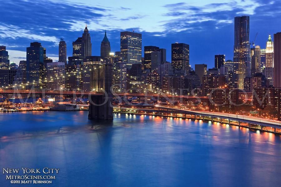 Brooklyn Bridge and skyline over the East River