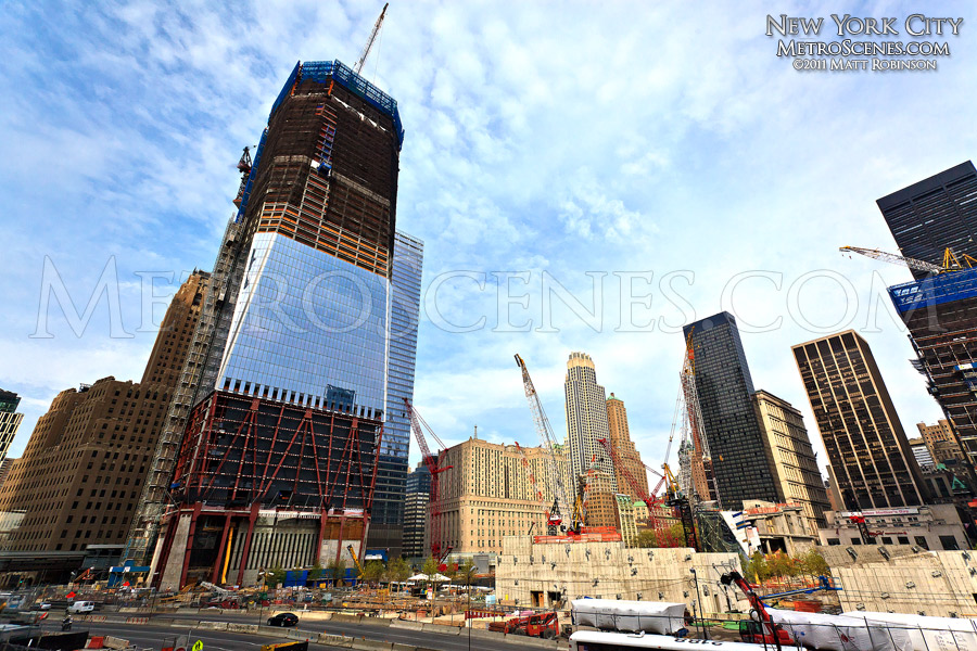 The progress of the new World Trade Center at ground zero, May 2011