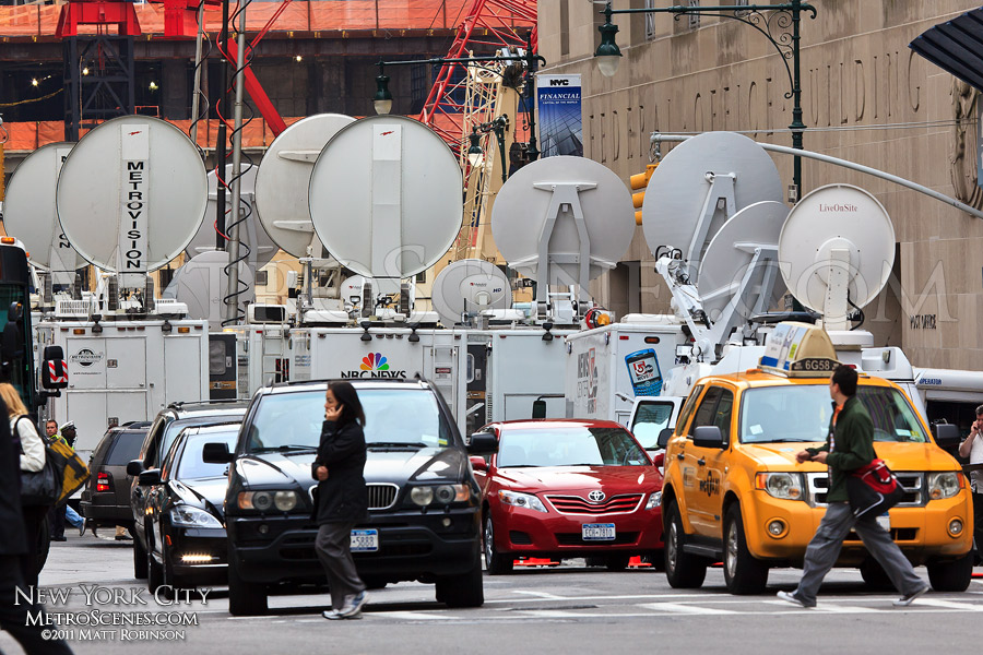 Collection of satellite trucks at Ground Zero after the death of Osama bin Laden