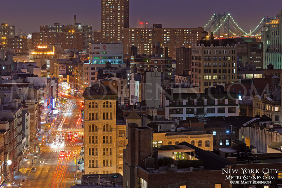 View of Canal Street and New York buildings with the Manhattan Bridge
