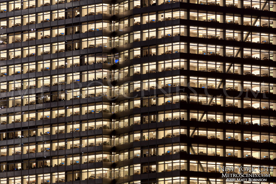 Office lights on at the Goldman Sachs New World Headquarters
