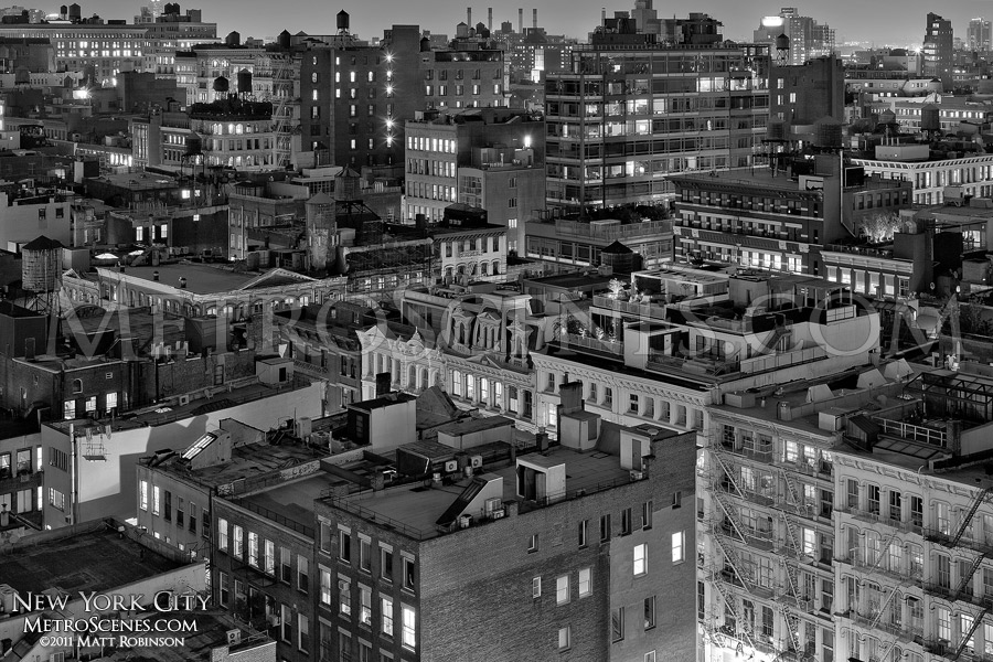 Black and White Nighttime East Village in New York City