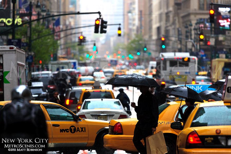 Rainy day with umbrellas in New York City