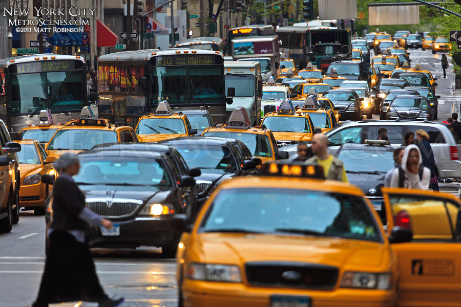 Busy traffic and taxis in Manhattan