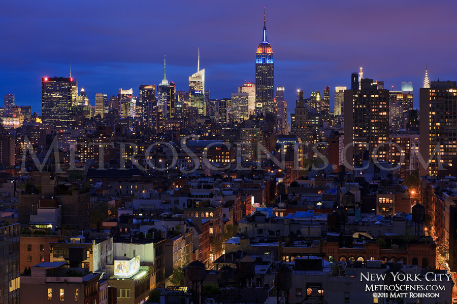 Evening midtown skyline from Sheraton Tribeca