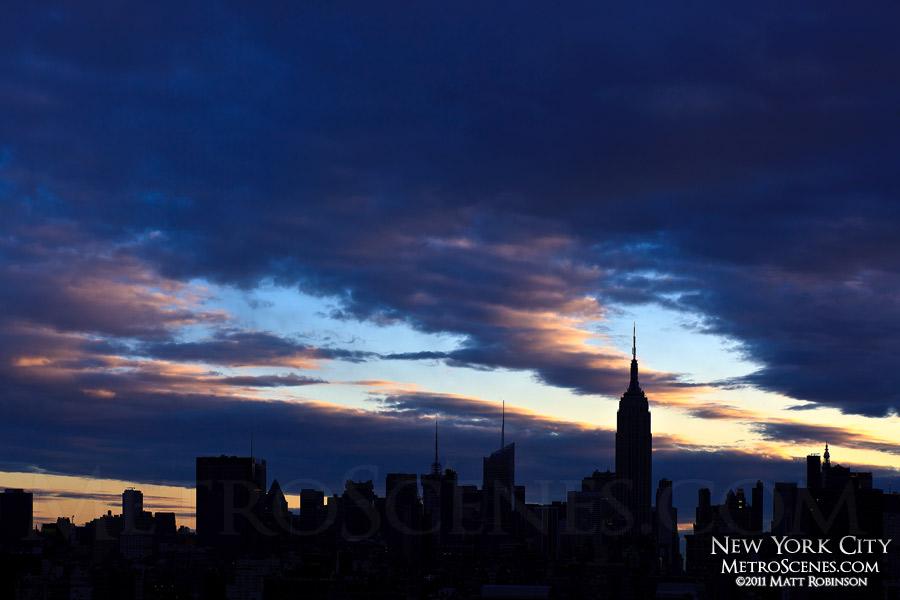 Silhouette of Midtown Manhattan at sunrise
