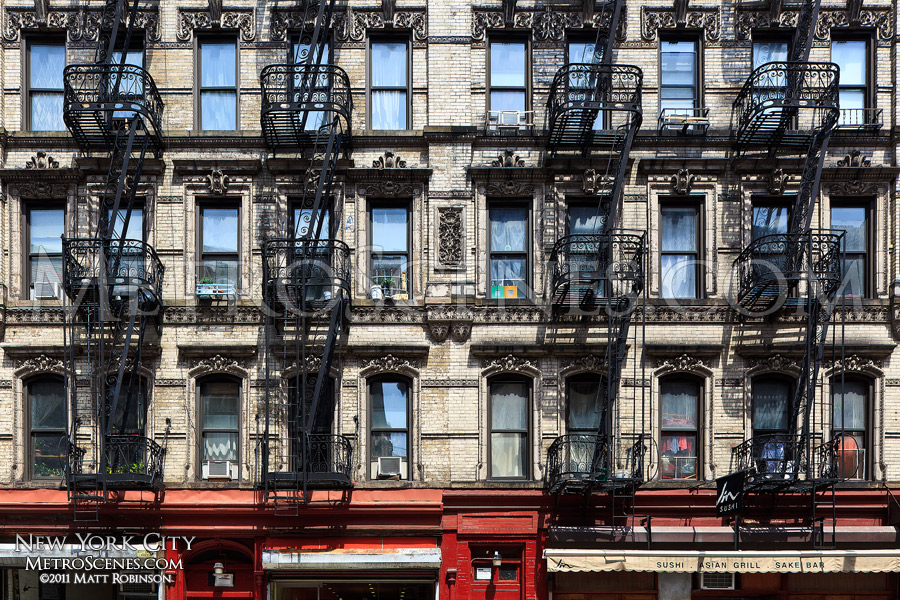 Fire escapes on Broome Street in the Lower East Side
