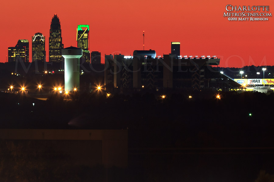 Charlotte Motor Speedway and Charlotte Skyline seen from nearly 20 miles away