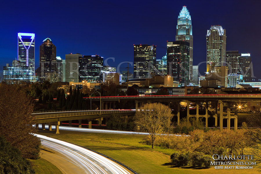 Charlotte Skyline with traffic