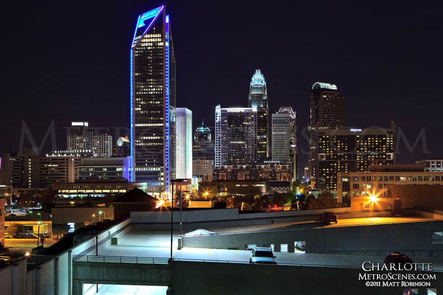 Charlotte Skyline at night with Duke Energy