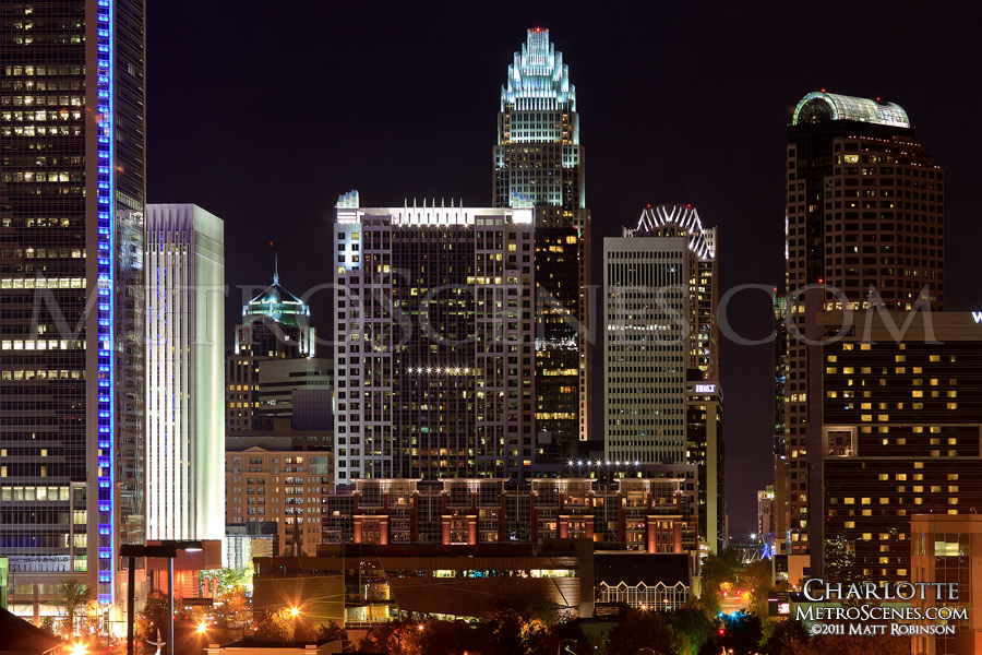 Nighttime in the city of Charlotte
