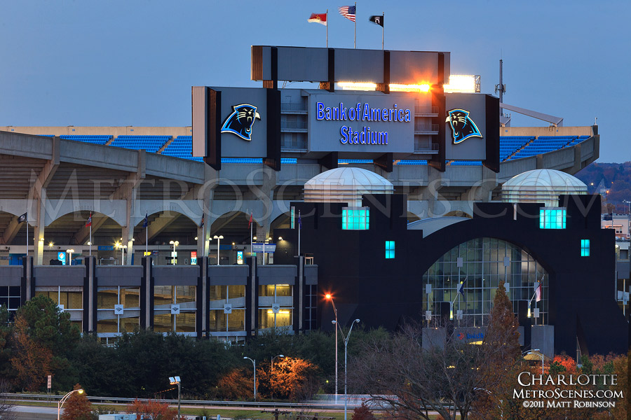 Bank of America stadium at night after a Panthers game
