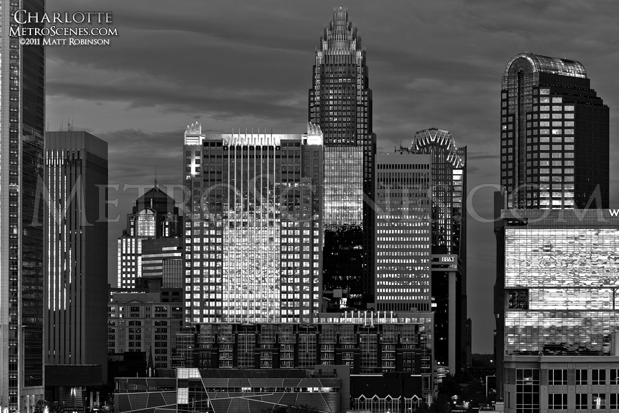 Black and white Charlotte Skyline