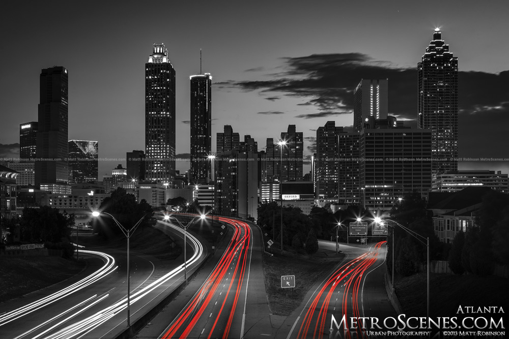 Atlanta Skyline Black and White with red brake lights