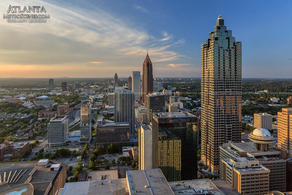 Before sunset Atlanta skyscrapers