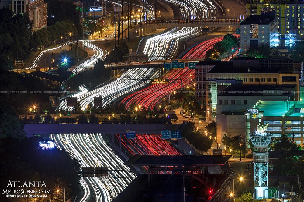 Headlights and Brakelights snake through Atlanta on Interstate 85