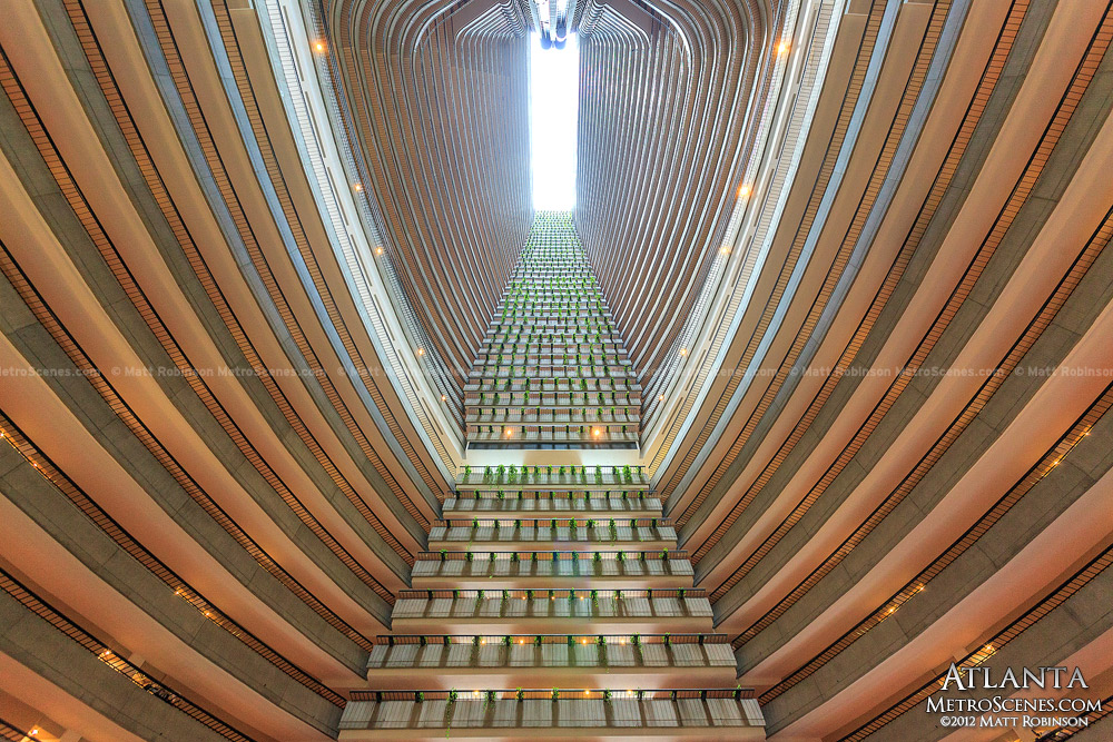 Looking Up At The Marriott Marquis Hotel