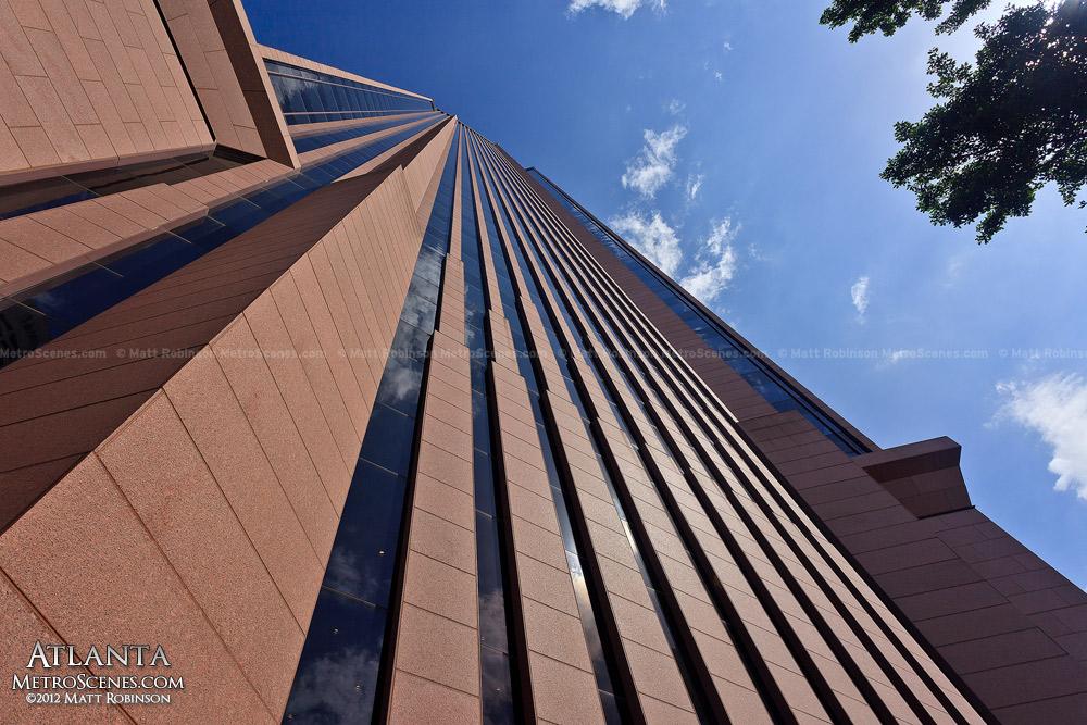 Looking up at Bank of America Plaza