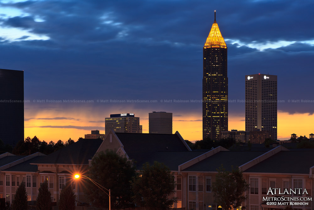 Midtown Atlanta at sunset with Bank of America Plaza