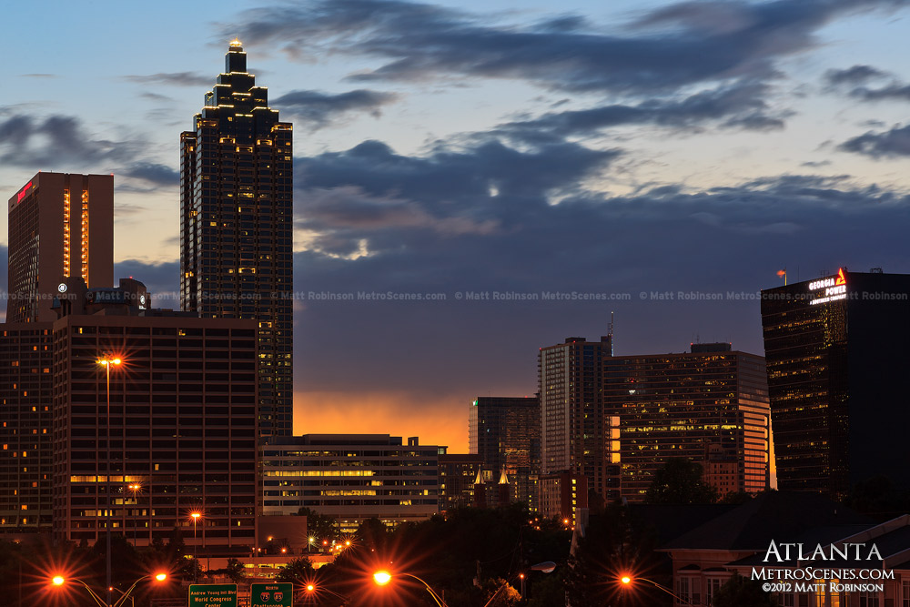 Suntrust Plaza after sunset