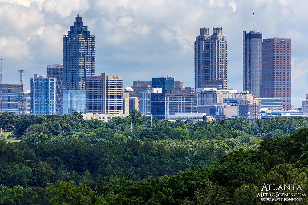 Downtown Atlanta from Crestlawn Cemetery