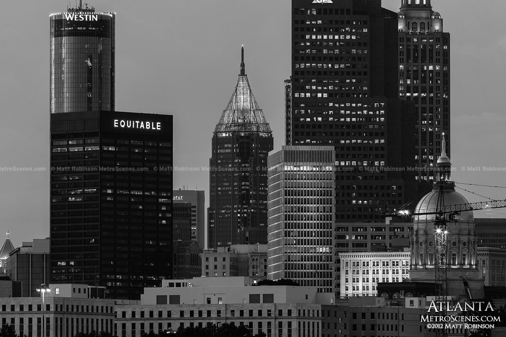Black and white Atlanta Skyline