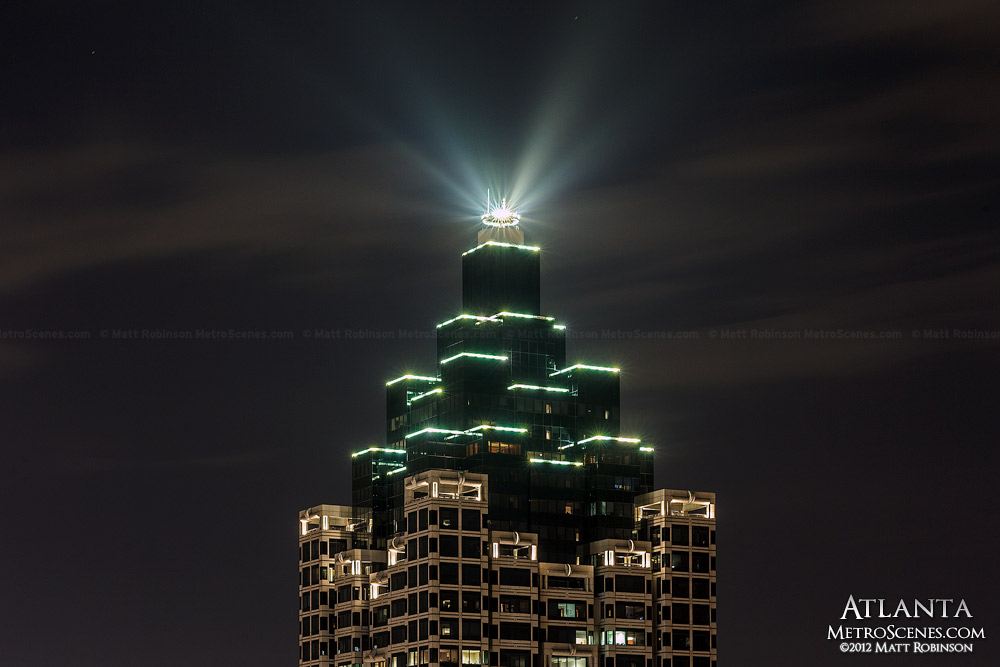 Suntrust Plaza shines into the Atlanta night sky