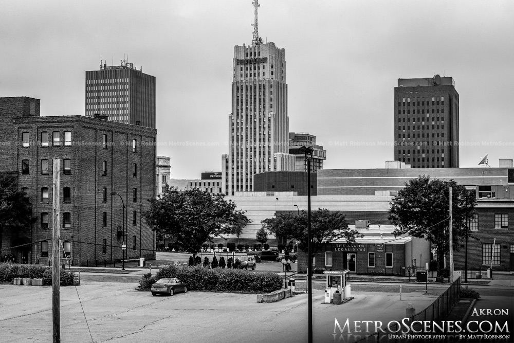 Akron Skyline Black and White