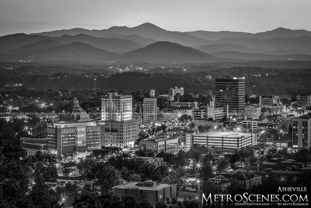 Asheville Skyline Black and White