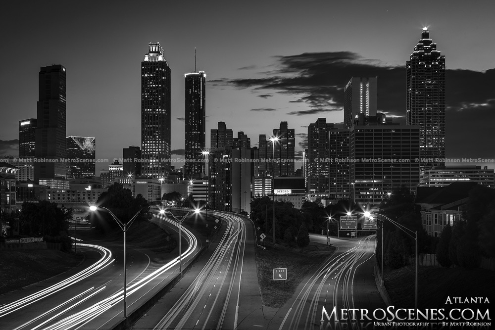 Atlanta Skyline Black and White