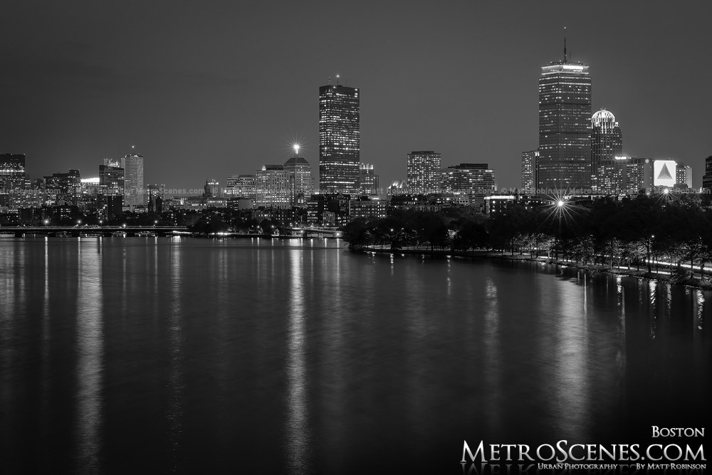 Boston Skyline Back Bay Black and White