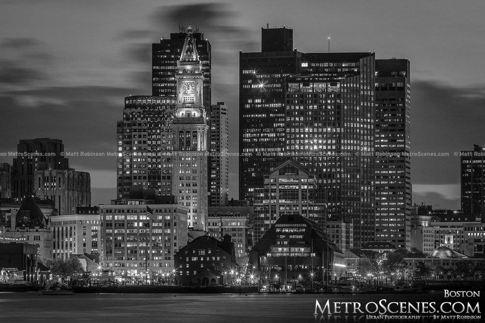 Boston Skyline Black and White