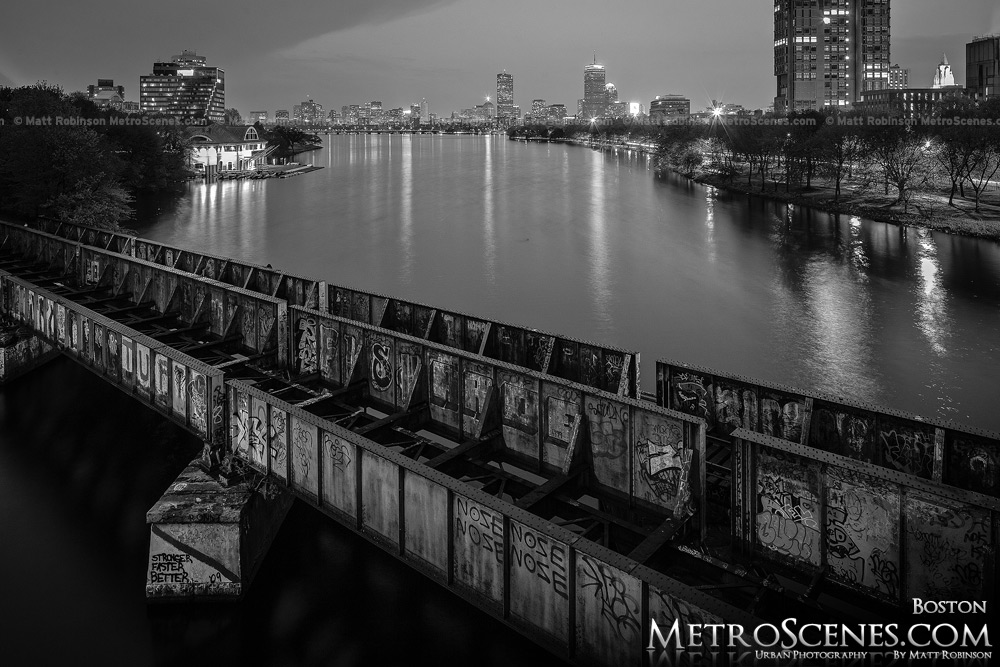 Boston University Bridge Black and White