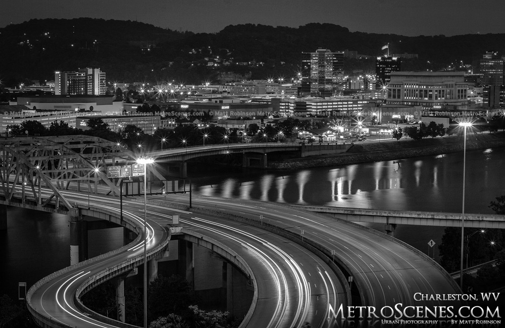 Charleston WV Skyline Black and White