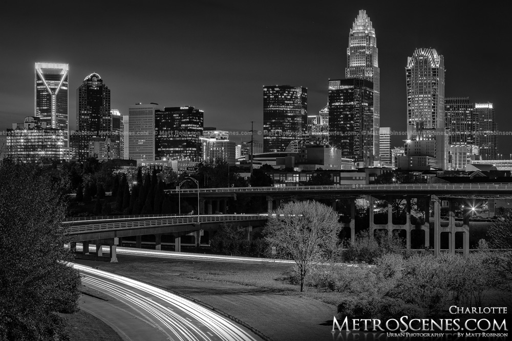 Charlotte Skyline Black and White