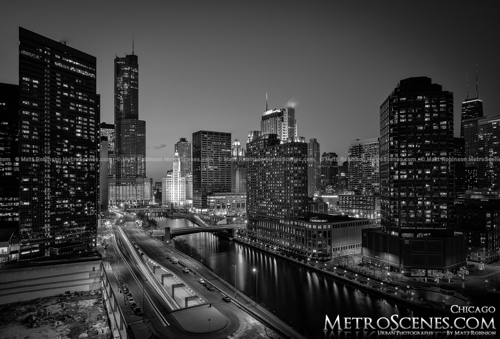 Chicago River Skyline Black and White