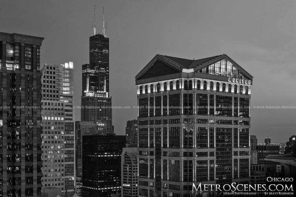 Willis Tower Chicago Black and White
