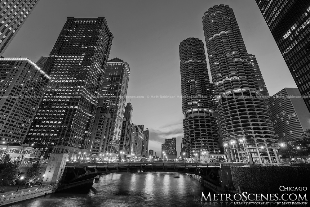 Marina City with Chicago River Black and White