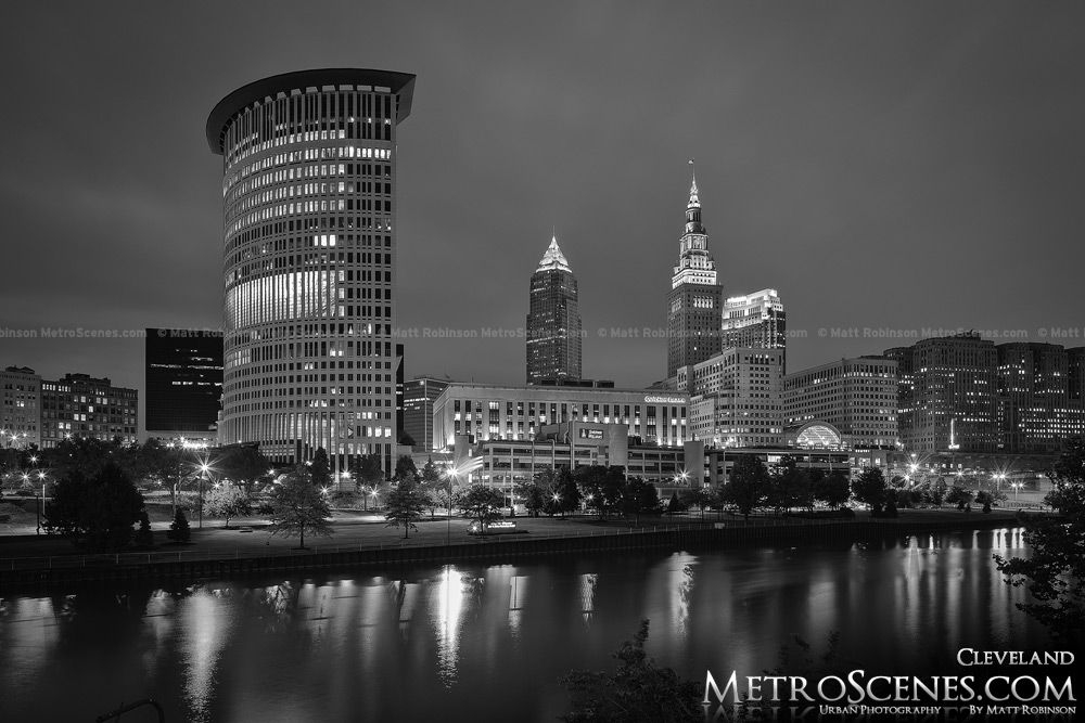 Cleveland and Cuyahoga River Black and White