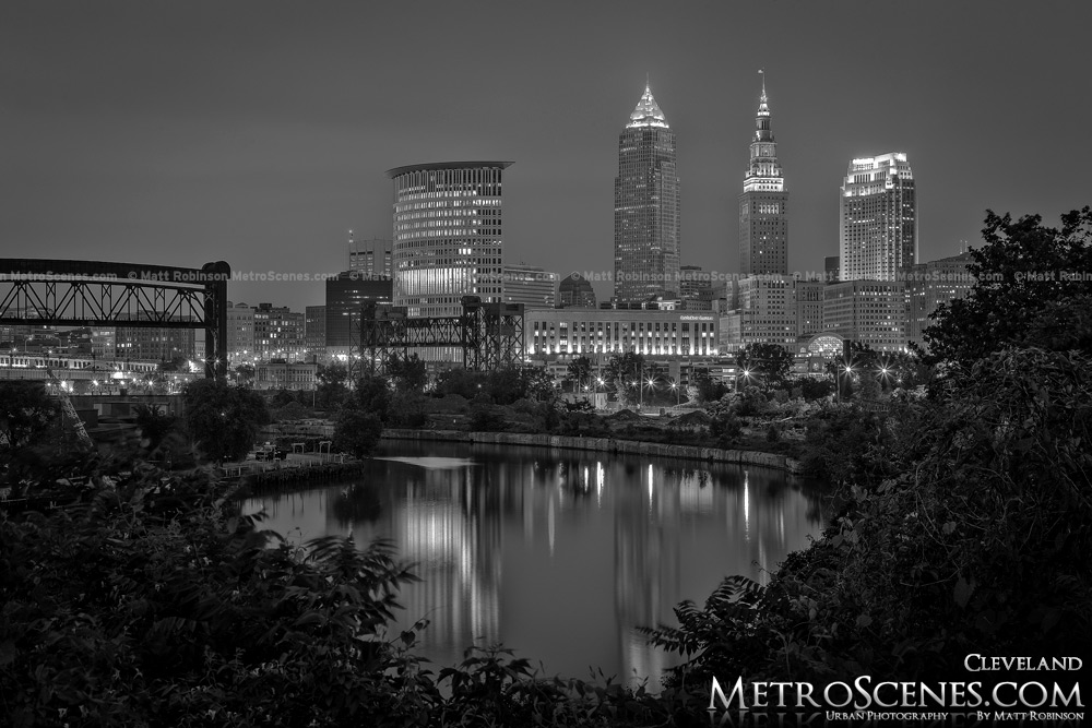 Cleveland Skyline Black and White